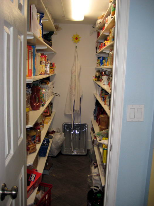 The kitchen pantry (below) is located immediately behind stove
